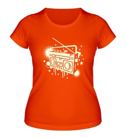 Женская футболка Старый магнитофон свет