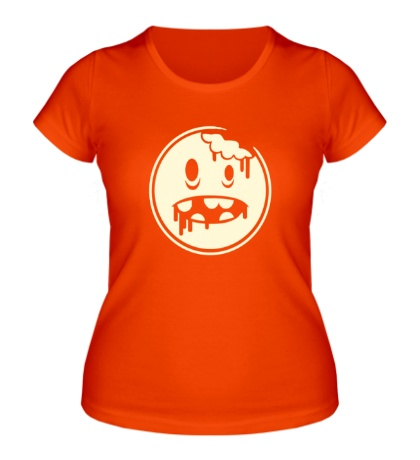Женская футболка Зомби рожица свет