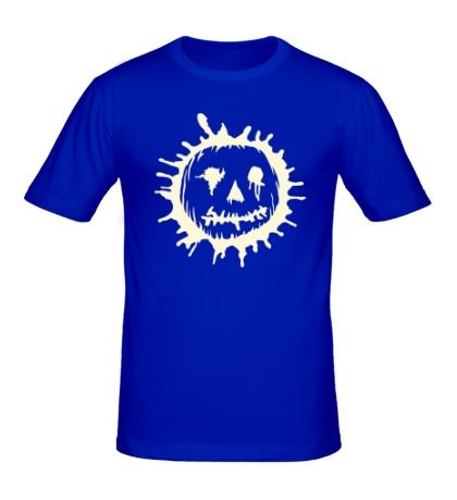 Мужская футболка Страшная тыква клякса свет