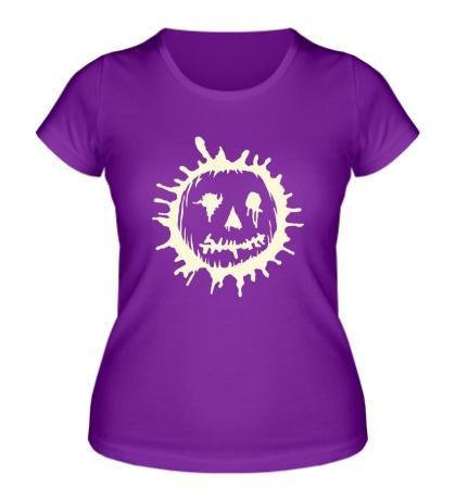 Женская футболка Страшная тыква клякса свет