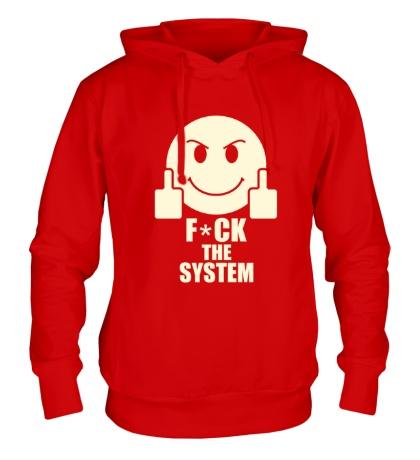Толстовка с капюшоном Fuck the System Glow