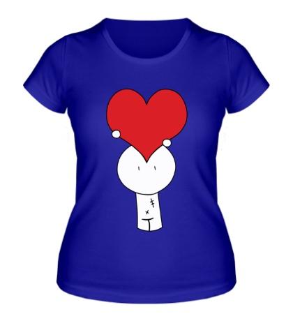 Женская футболка Человечек с сердцем