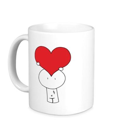 Керамическая кружка Человечек с сердцем