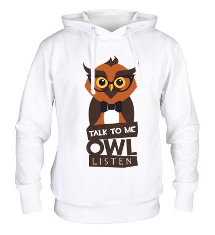 Толстовка с капюшоном Talk to me owl listen