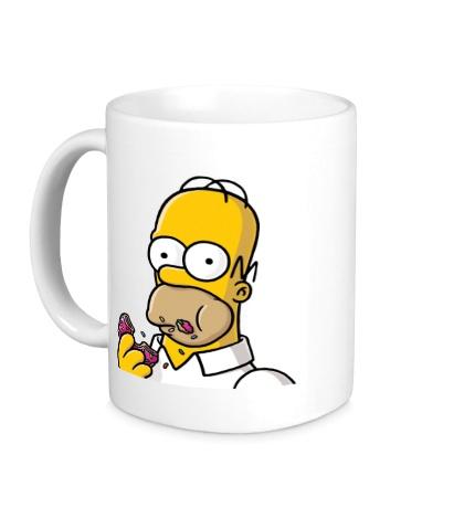 Керамическая кружка Гомер с Пончиком