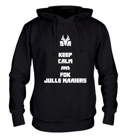 Толстовка с капюшоном Keep calm and fok julle naaiers