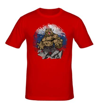 Мужская футболка Русская мощь медведя