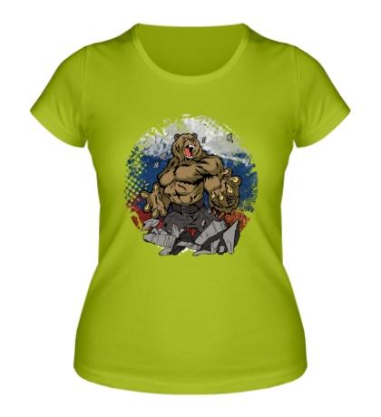 Женская футболка Русская мощь медведя