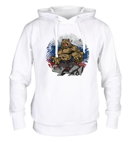 Толстовка с капюшоном Русская мощь медведя