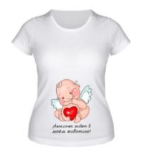 Женская футболка Ангелочек в животике