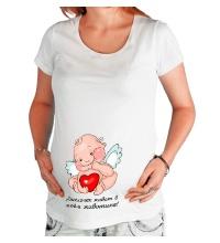 Футболка для беременной Ангелочек в животике