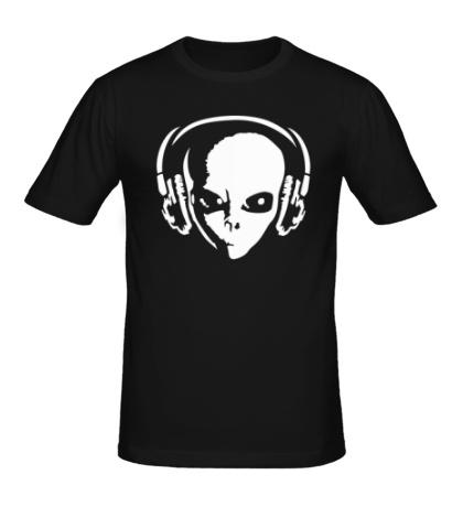 Мужская футболка Инопланетянин в наушниках