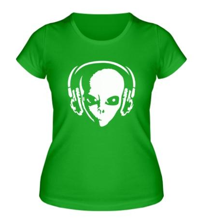 Женская футболка Инопланетянин в наушниках