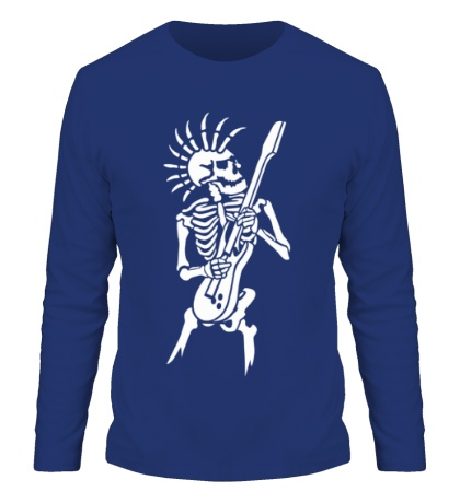Мужской лонгслив Скелет с гитарой