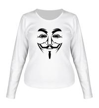 Женский лонгслив Маска анонимуса