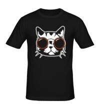 Мужская футболка Модный кот в очках