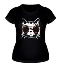 Женская футболка Модный кот в очках