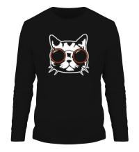 Мужской лонгслив Модный кот в очках