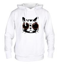 Толстовка с капюшоном Модный кот в очках