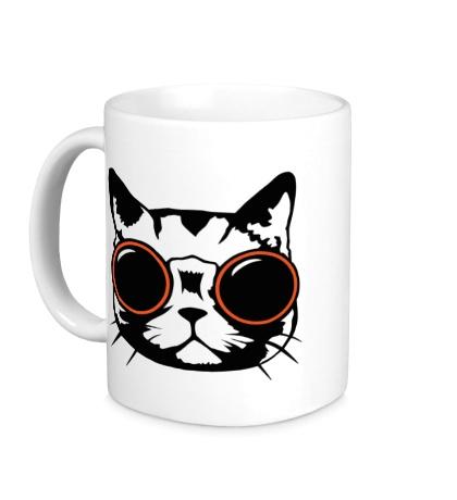 Керамическая кружка Модный кот в очках