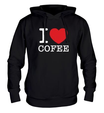 Толстовка с капюшоном I love coffee