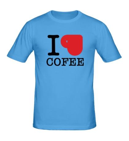 Мужская футболка I love coffee with cup