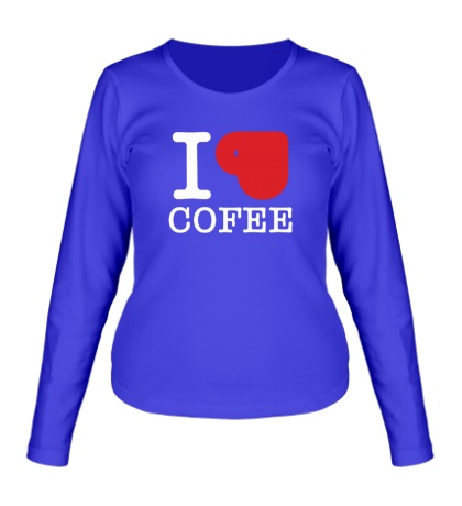 Женский лонгслив I love coffee with cup