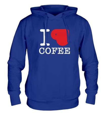 Толстовка с капюшоном I love coffee with cup
