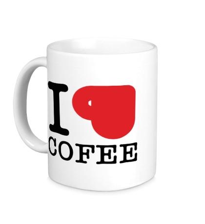 Керамическая кружка I love coffee with cup