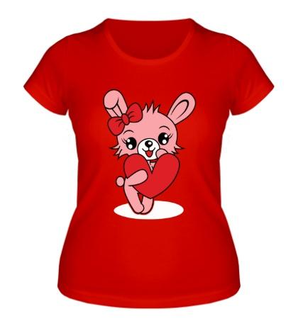 Женская футболка Зайка с сердечком