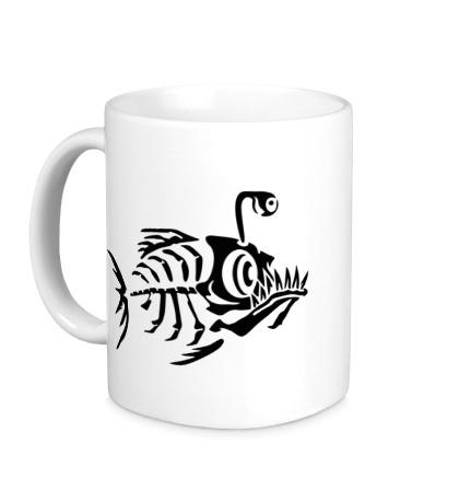 Керамическая кружка Скелет пираньи