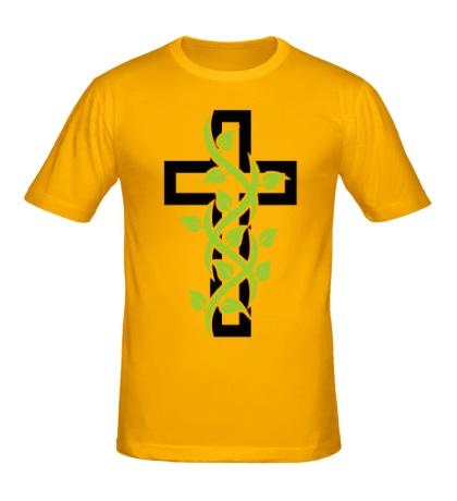 Мужская футболка Крест с вьюнком