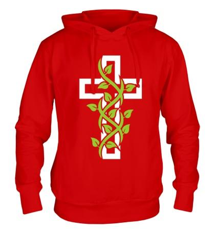 Толстовка с капюшоном Крест с вьюнком