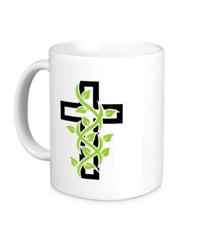 Керамическая кружка Крест с вьюнком