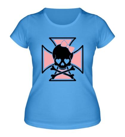 Женская футболка Крест с женским черепом