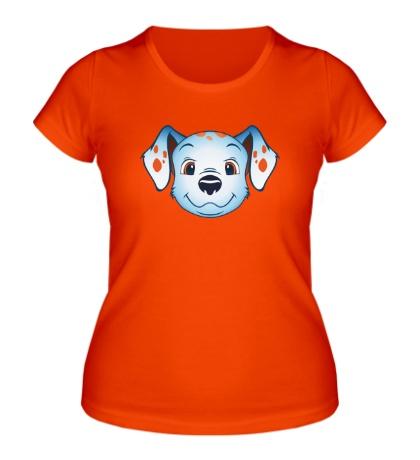 Женская футболка Голубой далматинец оранжевые пятнышки