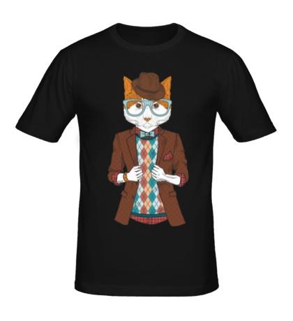 Мужская футболка Кот в пиджаке