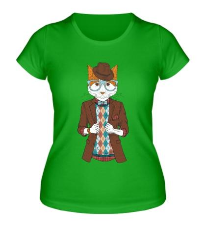 Женская футболка Кот в пиджаке