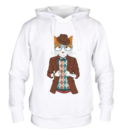 Толстовка с капюшоном Кот в пиджаке