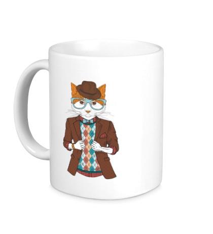 Керамическая кружка Кот в пиджаке