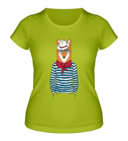 Женская футболка Лис в шляпе