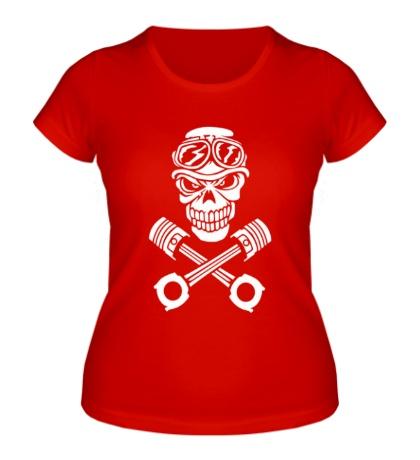 Женская футболка Череп мотоциклиста