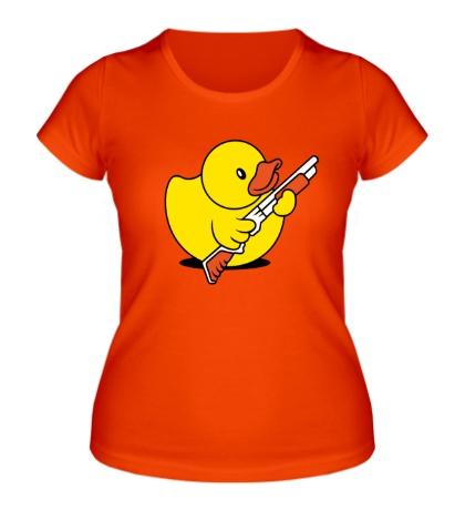 Женская футболка Утенок с ружьем