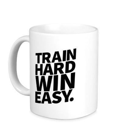 Керамическая кружка Train hard win easy