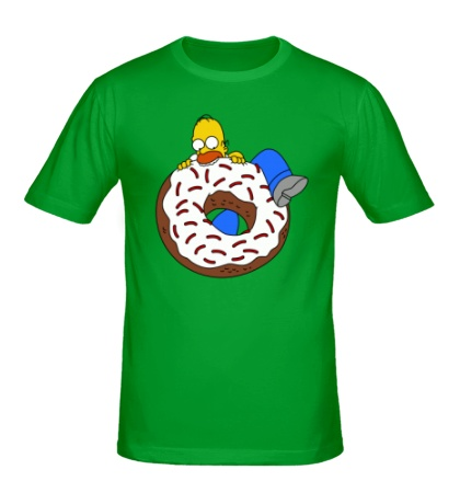 Мужская футболка Гомер ест пончик