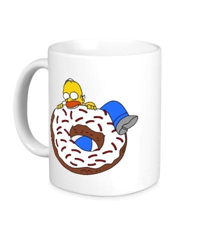 Керамическая кружка Гомер ест пончик