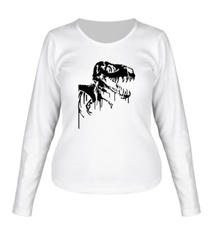 Женский лонгслив Череп динозавра