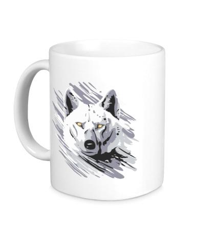 Керамическая кружка Белый волк