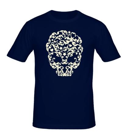 Мужская футболка Череп из листьев, свет