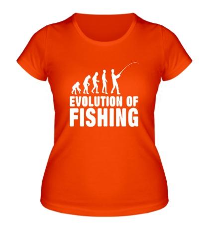 Женская футболка Evolution of Fishing